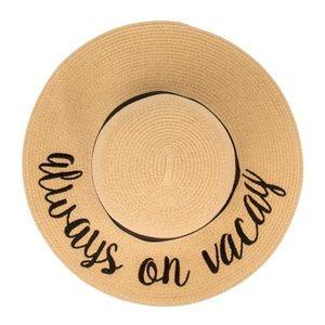 "C.C. Brand ""Always On Vacay"" ADULT Beach Hat 🏖"
